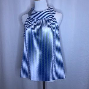 Sail to Sable cowl neck top in blue/white-Sz M